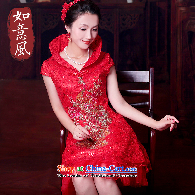 After a day of wind bride short skirts Chinese wedding services red embroidery dresses bows CHINESE CHEONGSAM gift 4605 4605 Red?S