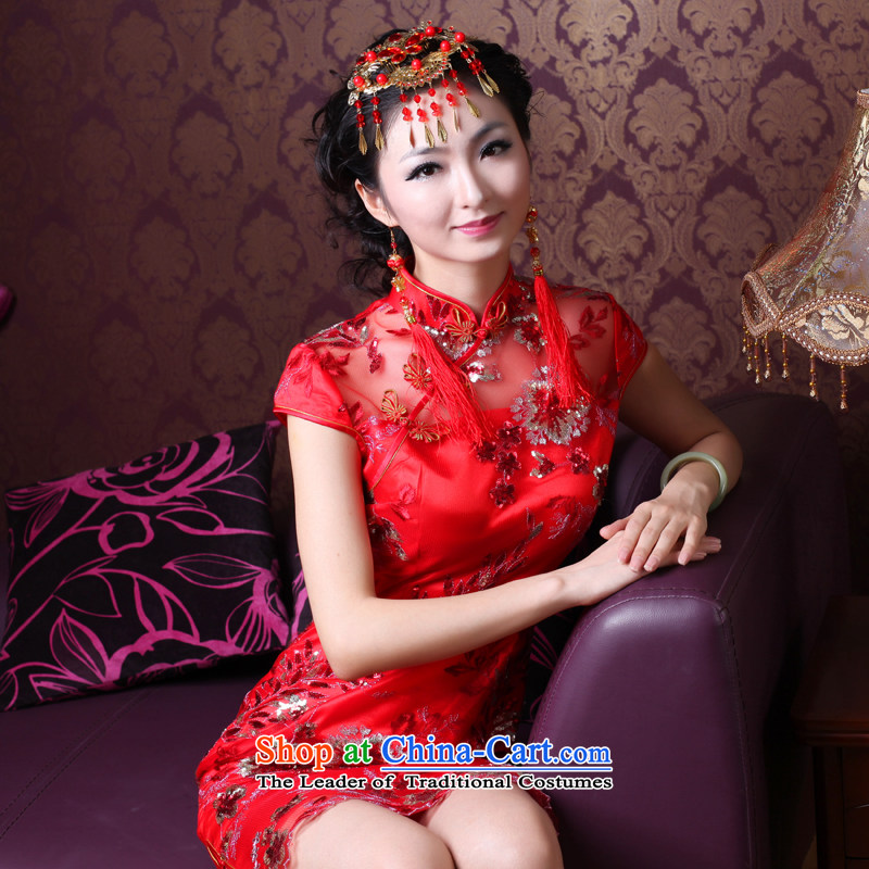 After a new stylish wind 2014 lace bows Service Bridal Sau San wedding dress red cheongsam dress 30.86 30.86 red?L
