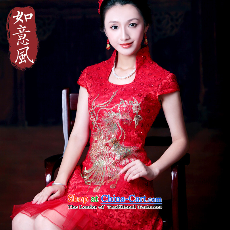 After a new wind 2014 summer uniforms and stylish red brides bows cheongsam dress suit 4606 4606 RED?M