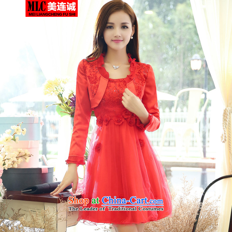 Mei Lin Shing autumn 2015 installed new lace stitching bride back to door onto pregnant women married long-sleeved dresses bride dress uniform bows two kits red?XXL
