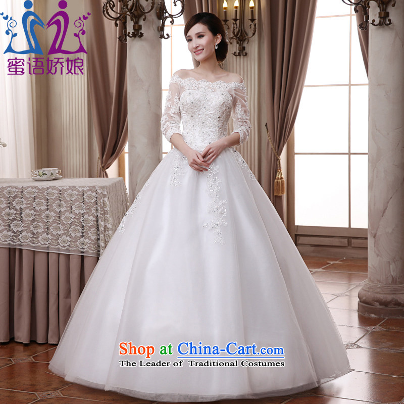 Talk to Her Wedding dress in 2015 new long-sleeved palace retro lace large graphics thin Princess Korean custom marriages went out of alignment with the white�S