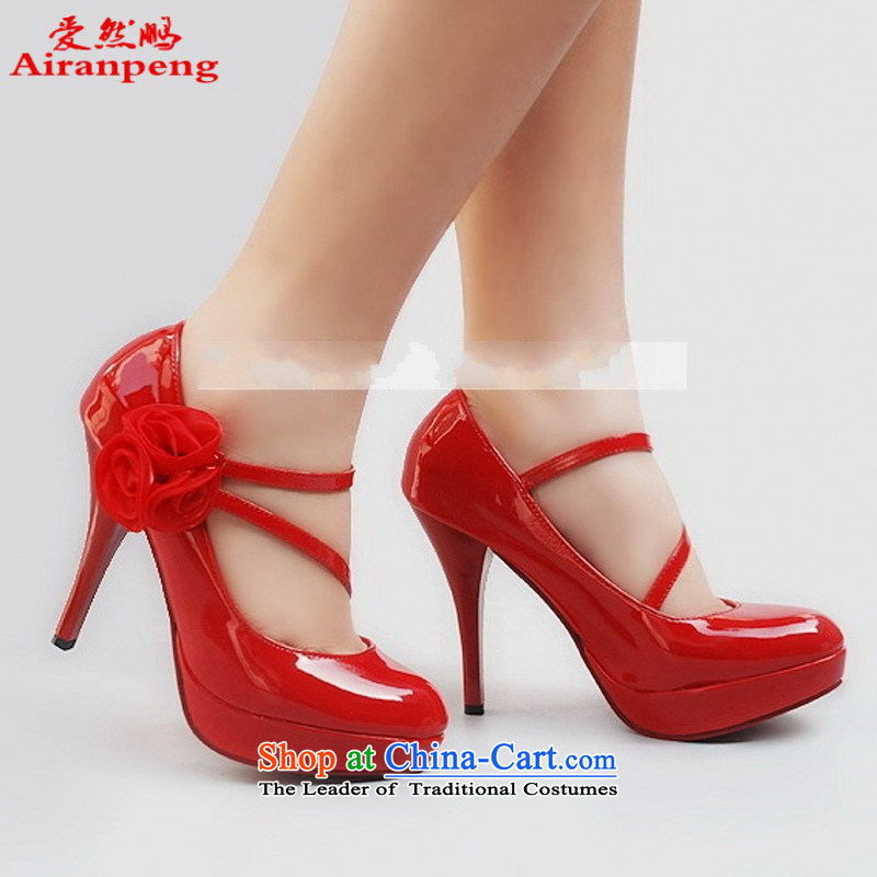New Princess marriage shoes 230 with high rise red dress shoes waterproof Red聽39