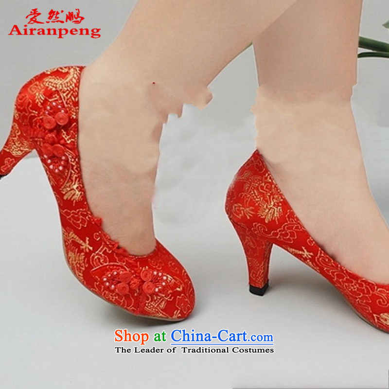 The new listing refined comfort footwear 028 bride shoes marriage Classic Red Shoes with a small qipao Code�6