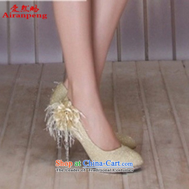 The bride wedding supplies wedding accessories new bride stylish wedding shoes with marriage shoes HX3361-2 slope of gold聽39