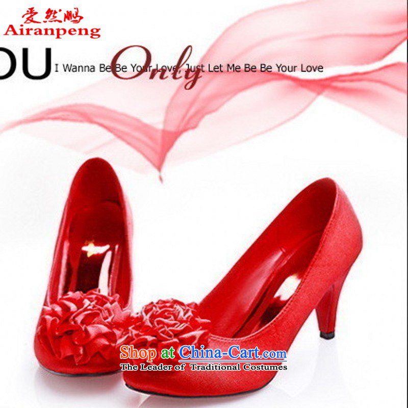 Marriage 191-3 shoes red shoes dress shoes upscale wedding dresses shoes Princess Bride married 35