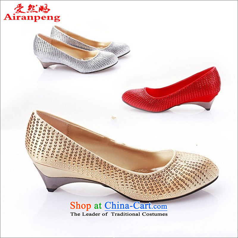 The Philippines with marriage with low YY326-28 shoes marriage shoes dress shoes wedding Shoes Show shoes Golden 37
