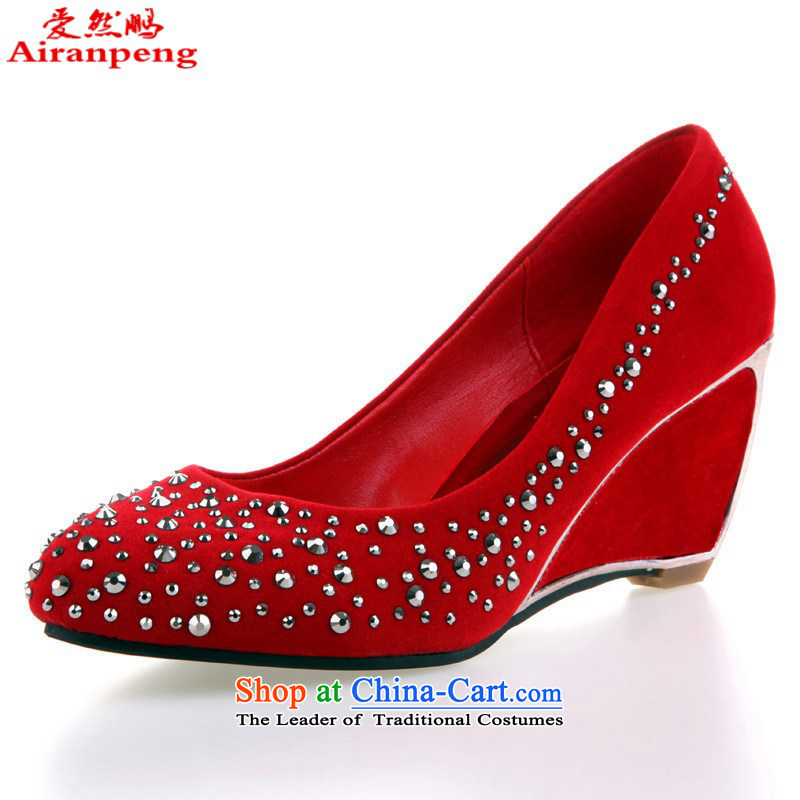 Marriage shoes marriage shoes qipao shoes red shoes drill bride marriage marriage shoes with HX045 slope 35