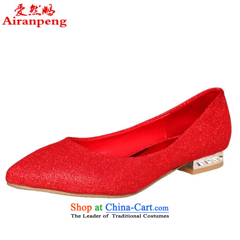 2015 bride marriage shoes red low heels with low marriage shoes red shoes HX062 marriage Red聽9