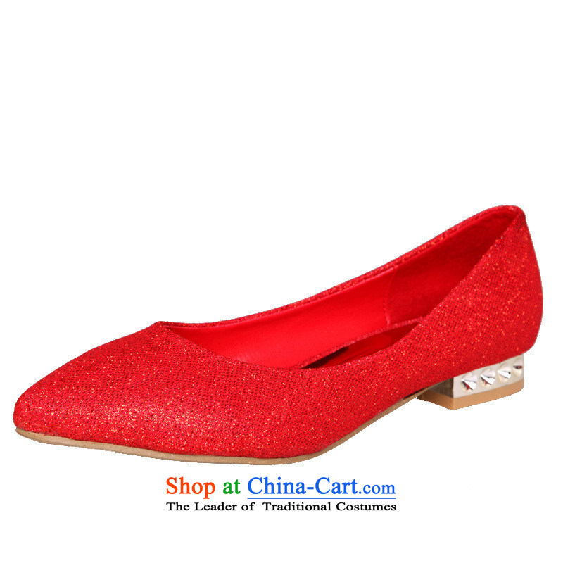 2015 bride marriage shoes red low heels with low marriage shoes red shoes HX062 marriage red 9, love so Peng (AIRANPENG) , , , shopping on the Internet