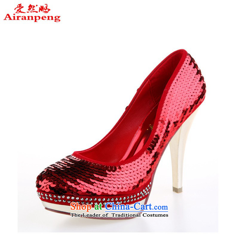 Marriage shoes red marriage shoes wedding dresses shoes bride shoes 2014 women shoes off-chip shoes single shoe Red聽38