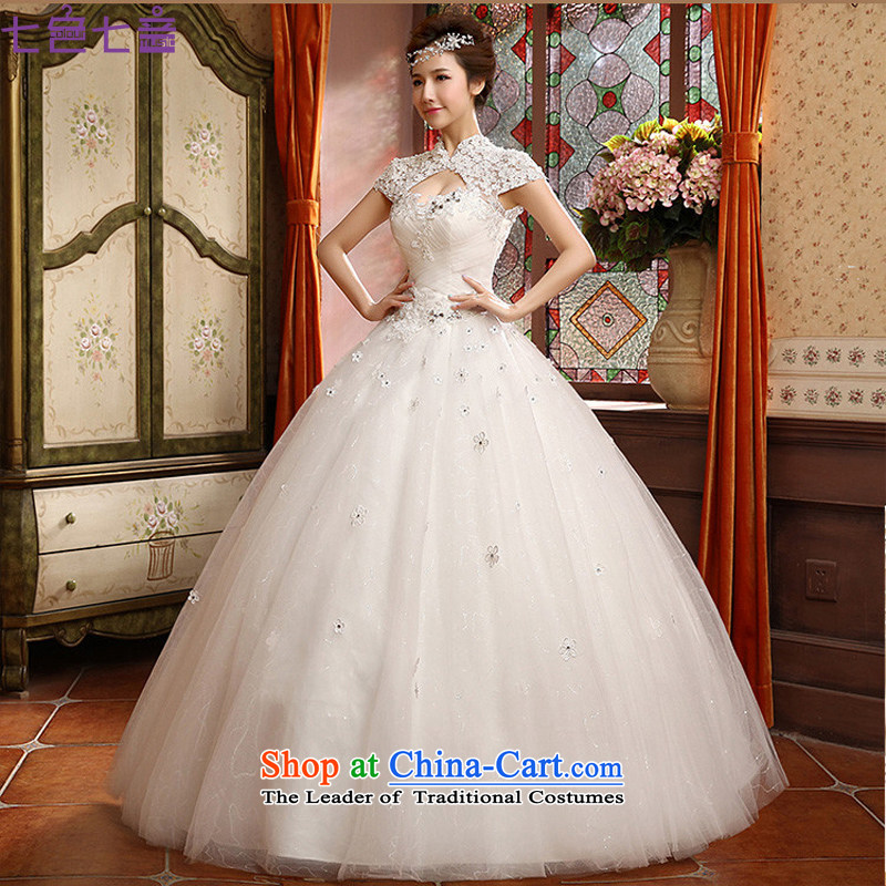 7 Color 7 tone Korean New 2015 lace to align the back collar package the word shoulder shoulder bride wedding dresses?H039?White?XL
