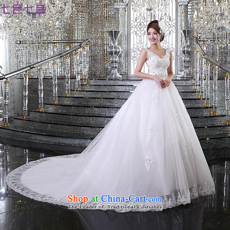 7 Color 7 tone Korean New 2015 new stylish wedding gown bride Han thin shoulders version to align with v-neck wedding dress�H041�white streak�XXL