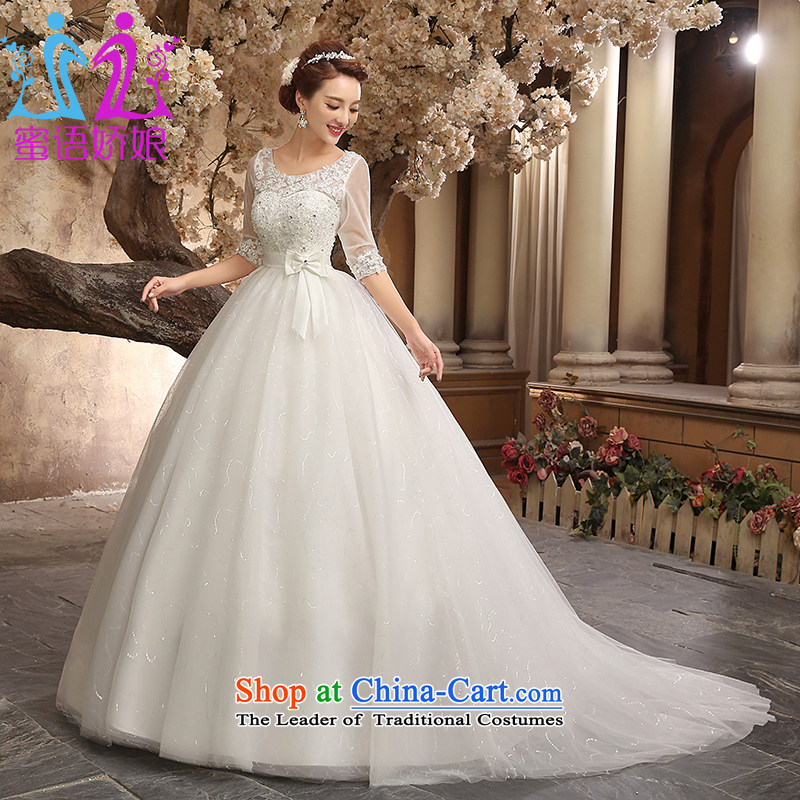 Talk to Her Wedding Dress 2015 new small trailing one field for cuff shoulder straps for larger video thin pregnant women wedding Korean went out of white�L Princess