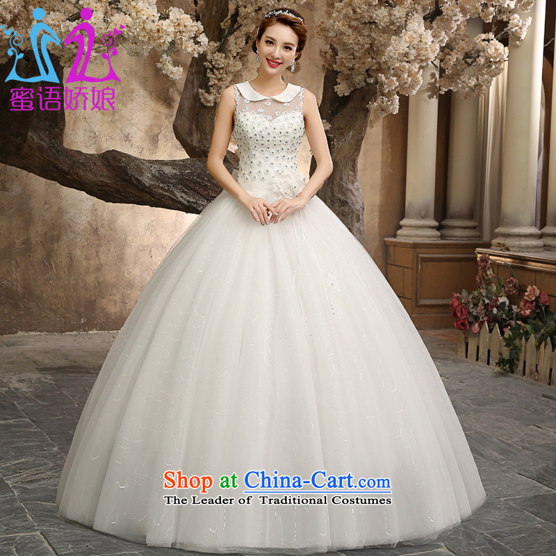 Talk to Her Wedding Dress 2015 new alignment to bind with the large number of thin marriages Go video yarn lapel fresh temperament and stylish white wedding White�M