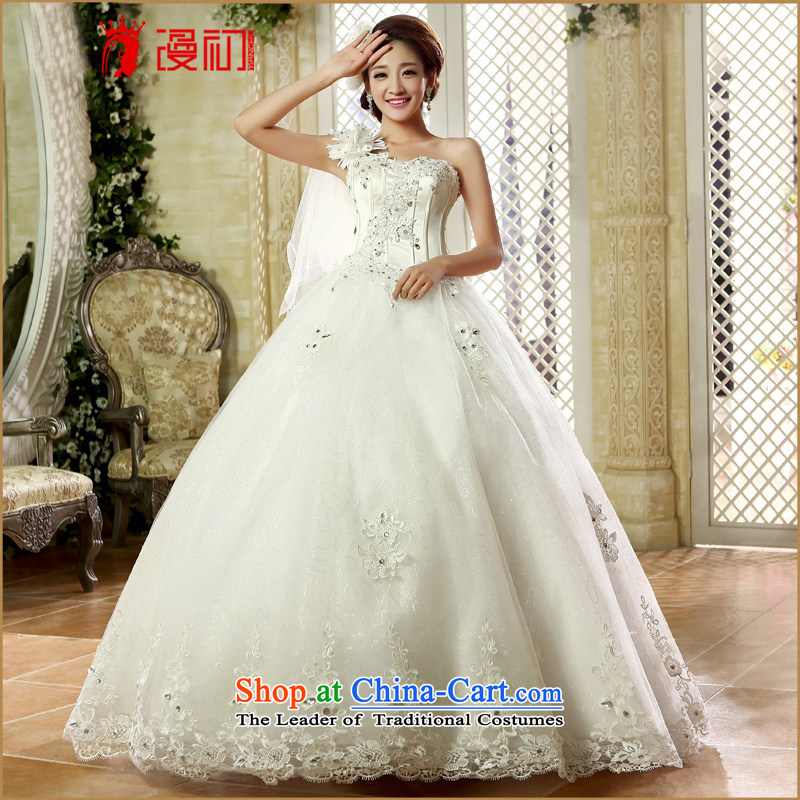 At the beginning of Castores Magi wedding dresses new 2015 shoulder stylish wedding lace flowers to align drill water bride wedding female White?XXL