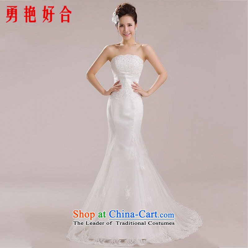 Yong-yeon and Western Red anointed chest wedding dresses 2015 new crowsfoot marriages tail small serving bows wedding white?XS