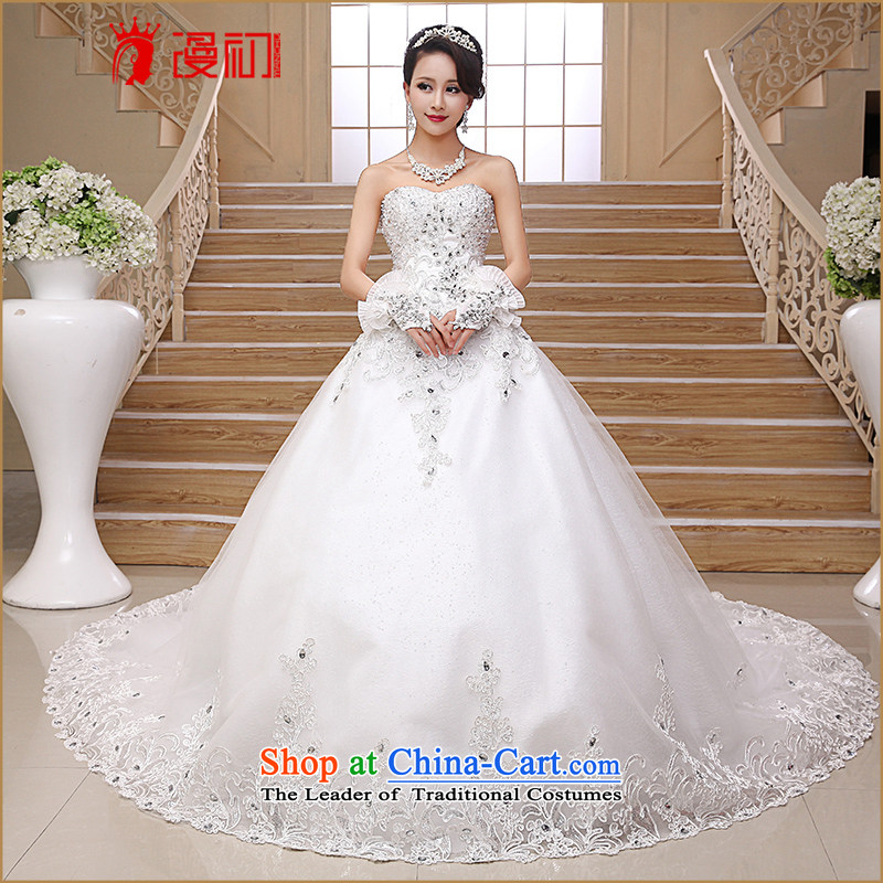 At the beginning of Castores Magi Deluxe Big tail 2015 new wedding Korean elegant exclusive breast tissue drill length tail wedding female tail,�XXL