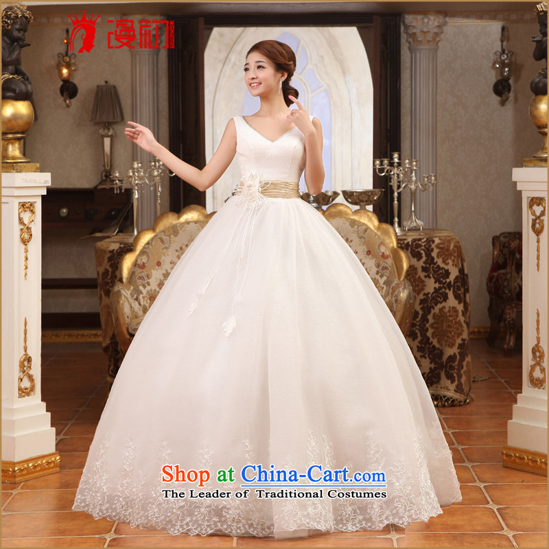 In the early 2015 new man?V-neck and sexy shoulders to align bon bon skirt wedding Korean Princess Bride wedding dresses White?XXL