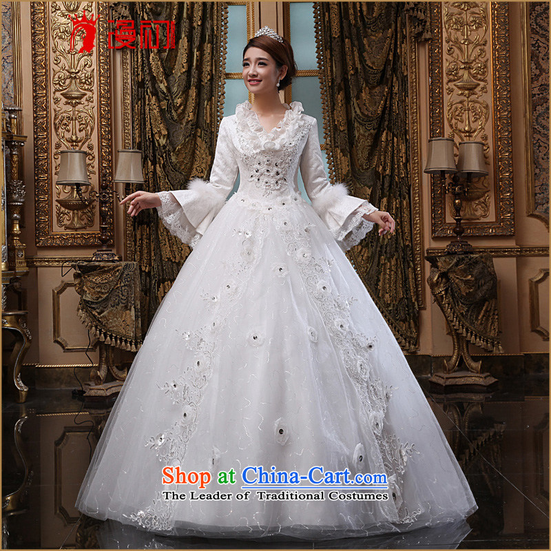 At the beginning of the New Year 2015 diffuse winter wedding marriages long-sleeved winter wedding Korean version of Lotus For Winter, of thin White�XXL