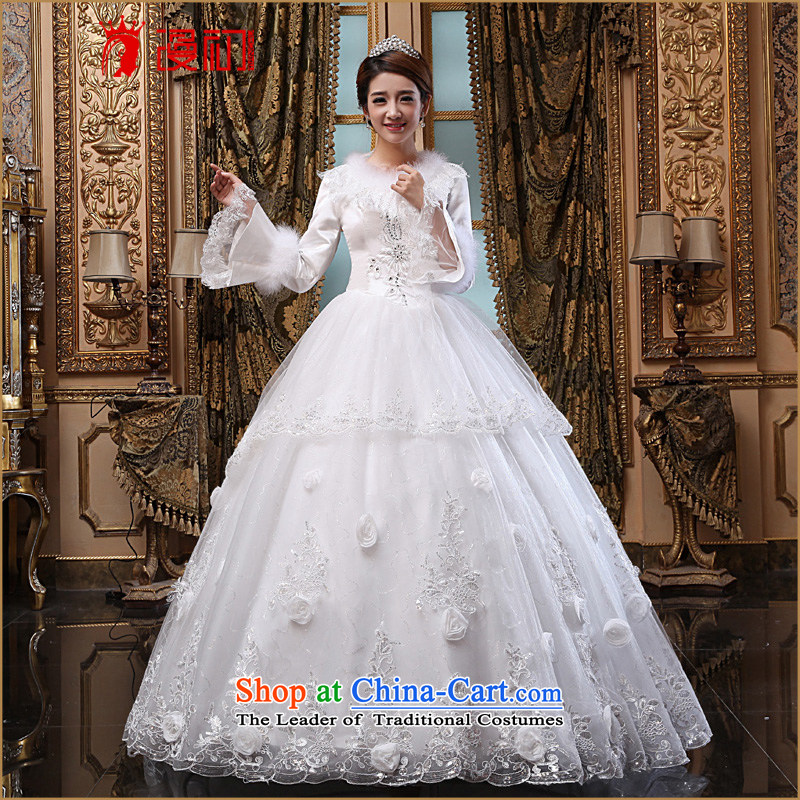 The beginning of the Winter 2015 Castores Magi new bride wedding winter of long-sleeved thick wedding Korean version thin winter wedding dresses White?XXL