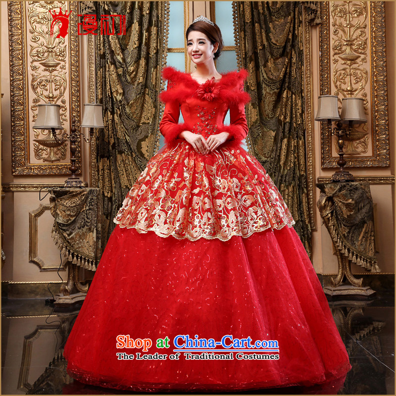 At the beginning of the New Year 2015 definition of winter) Bride wedding red winter wedding thick long-sleeved winter wedding dresses winter Korean wedding red?XXL