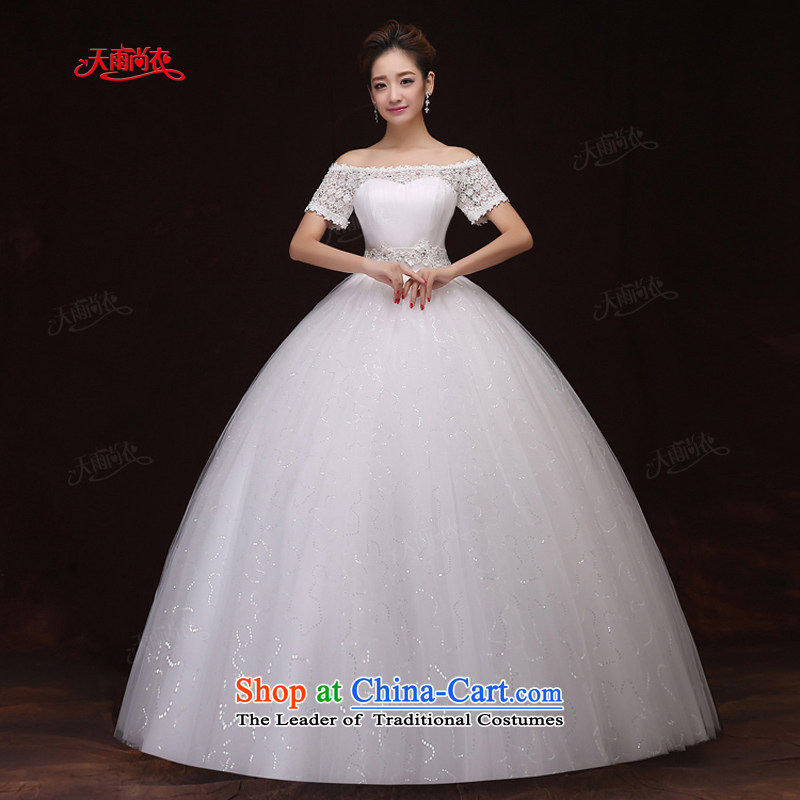 Rain-sang Yi marriages spring 2015 the new Korean Top Loin of stylish word princess shoulder white wedding HS904 pregnant women white long tailored