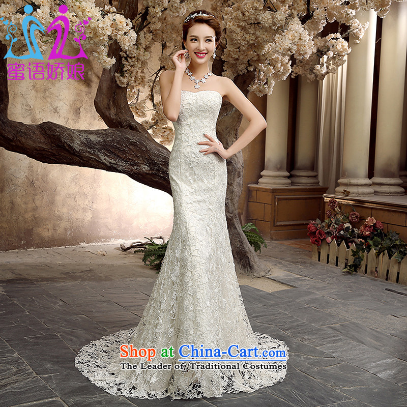Talk to Her Wedding Dress 2015 new crowsfoot tail wedding wiping the chest straps Sau San Korean Princess Bride retro dress White?M