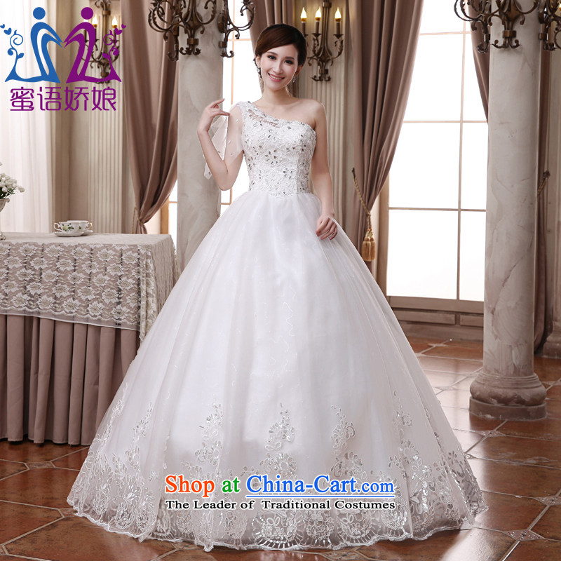 Talk to her wedding dresses new 2015 align to shoulder straps to align the Korean elegant large pregnant women bride wedding�XXXL White