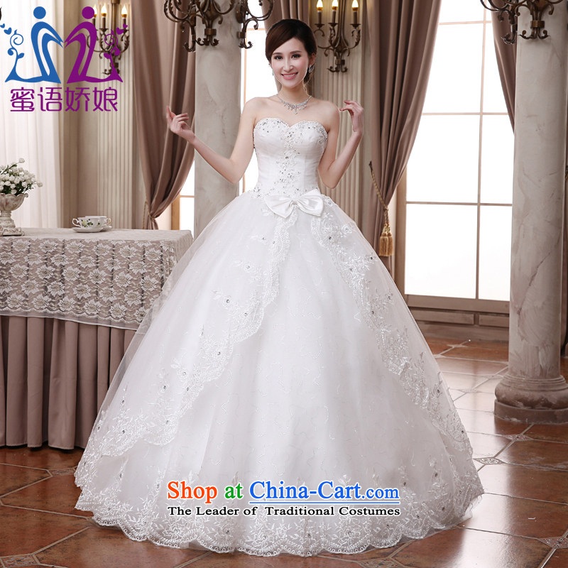 Talk to Her Wedding Dress 2015 new Korean wiping the chest to bind with the large number of Marriage on the elegant yarn princess female White?XL
