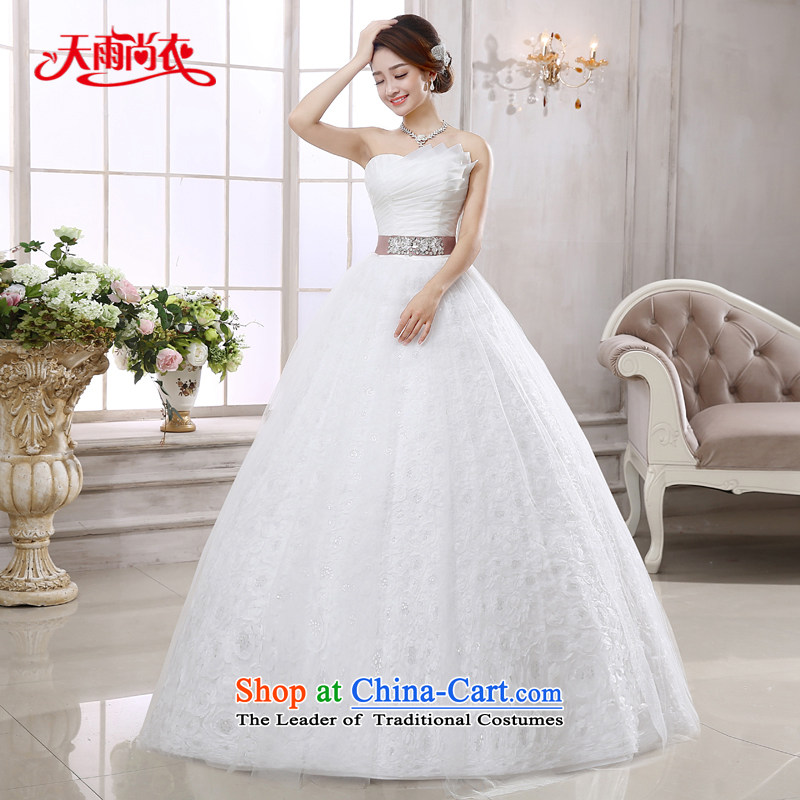 Rain-sang yi bride wedding dress 2015 new stylish and elegant minimalist chest princess align to bind with white wedding HS874 white?S