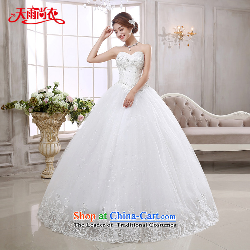Rain-sang yi bride wedding dress 2015 new stylish lace wiping the chest to bind the princess elegant alignment with white wedding HS875 White聽XXL