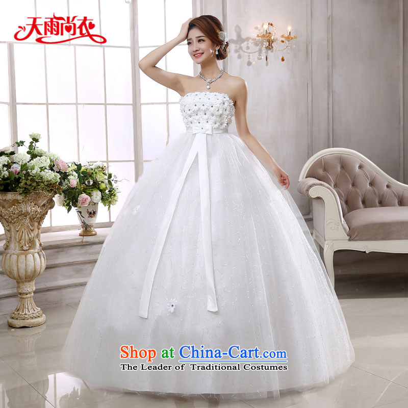 Rain-sang yi bride wedding dress 2015 new Korean Top Loin of pregnant women for larger diamond flower align elegance to bind with white wedding HS876 white?S