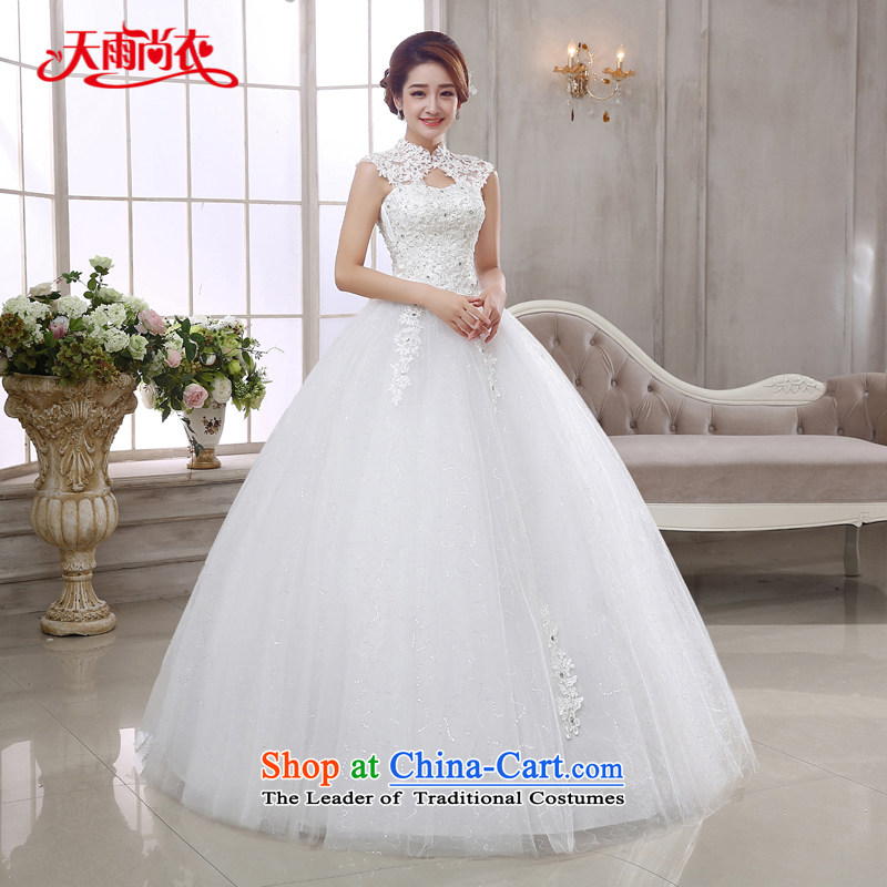 Rain-sang yi bride wedding dress 2015 new Korean style large diamond elegant align to bind with hanging also lace sexy white wedding HS877 white�L