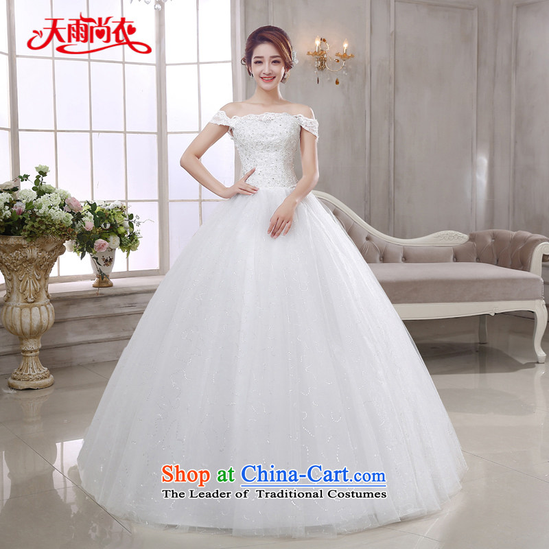 Rain Coat is stylish stars of marriages 2015 White gauze Korean style wedding gown princess slotted shoulder lace large wedding video HS878 thin white?L