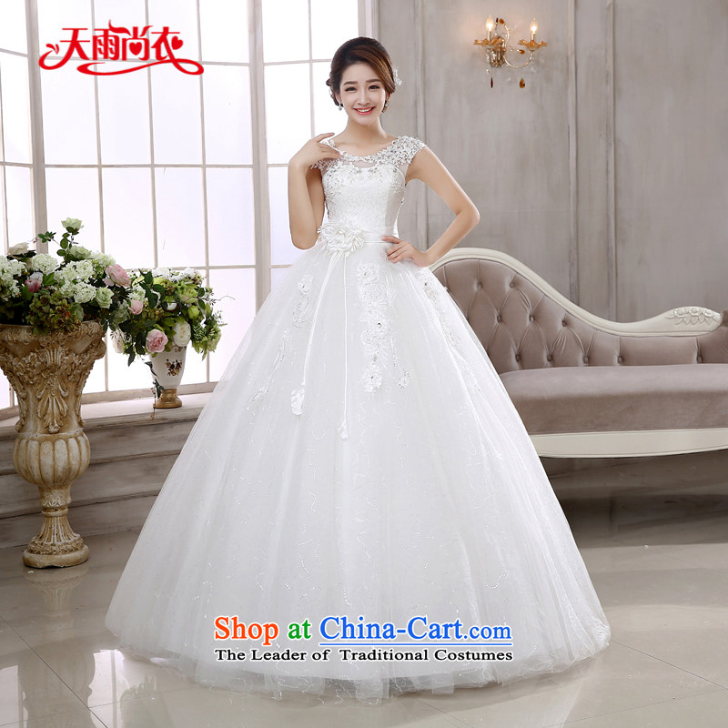 Rain-sang Yi Wedding Dress Wedding 2015 new stylish bride Korean style reminiscent of the shoulders and sexy word shoulder deep V-Neck lace align to white HS881?S