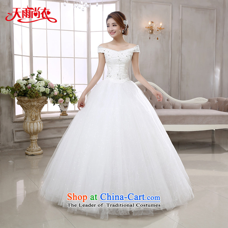 Rain-sang yi wedding dress 2015 new bride wedding Korean style wedding gown princess word white lace nail pearl shoulder Graphics alignment of land HS882 thin white?L
