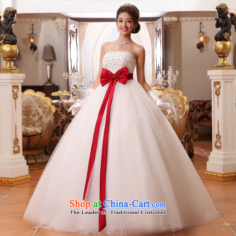 The privilege of serving-leung?2015 new bride Top Loin of wiping the chest pregnant women wedding dresses princess thick MM larger custom?8XL White