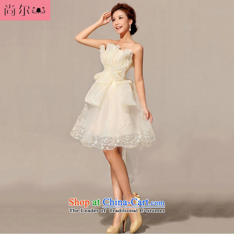 Naoji a 2014 new bridesmaid dress uniform dress bows short White?XXL al00289)