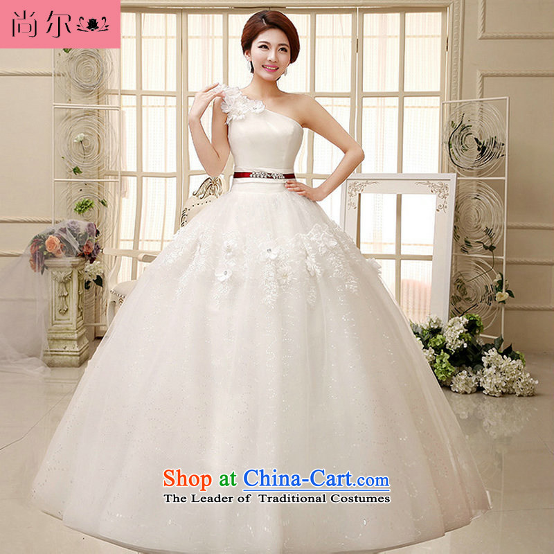 Naoji a 2014 new wedding shoulder bon bon skirt small Qingxin flowers to align manually stylish wedding al00286 white?L