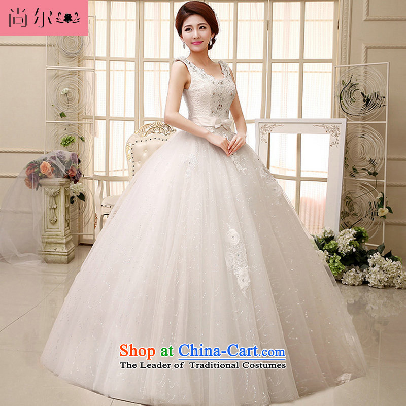 Yet, a high standard and style water-soluble lace booking drill and sexy shoulders V-Neck bride wedding dresses al00287 White?M
