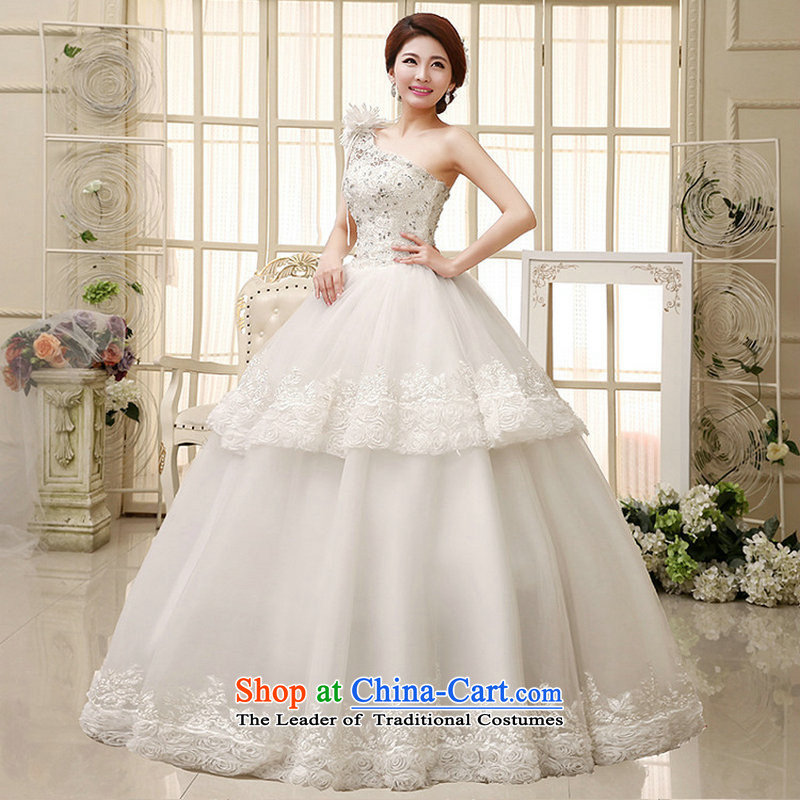 Naoji a stylish high-end flowers wedding sweet bride lace manually set the drill shoulder wedding al00285 white?L