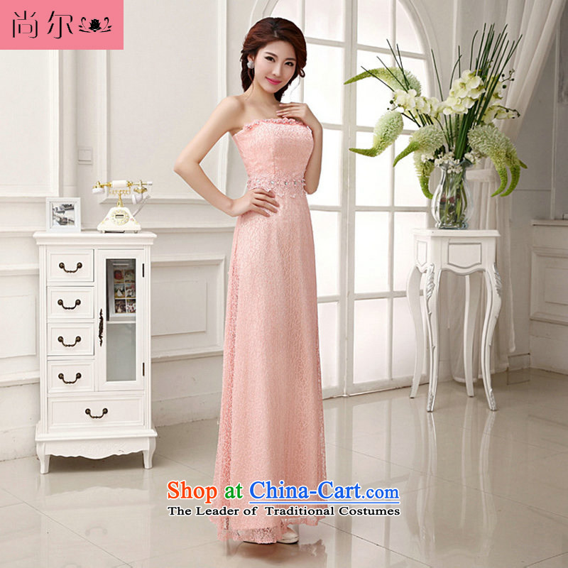 Naoji a 2014 new wedding dress long bows and breast-style evening dresses al00282 pink?M