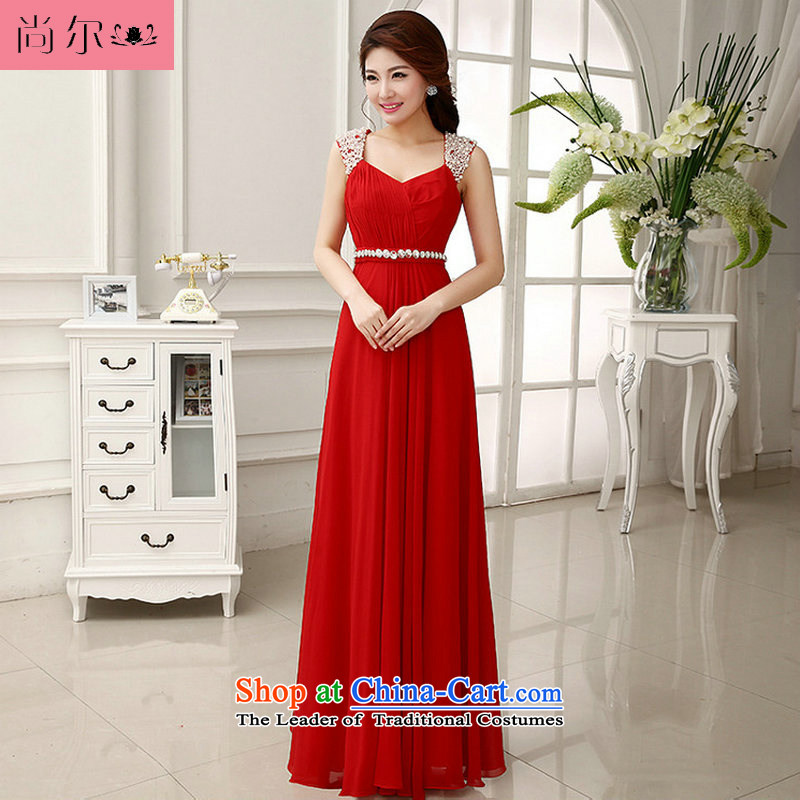 Naoji a 2014 new dress Korean elegant shoulders captain skirt sister dress al00280 red?XL