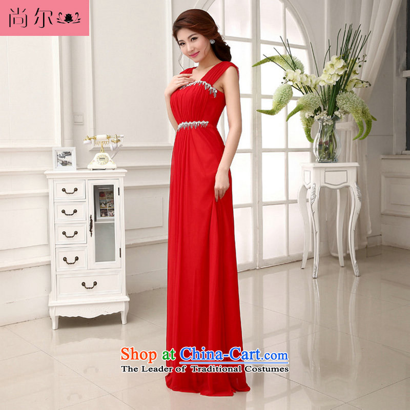 Naoji a 14 bridal bridesmaid wedding wedding long evening dress the betrothal of marriage bows services al00281 red�L
