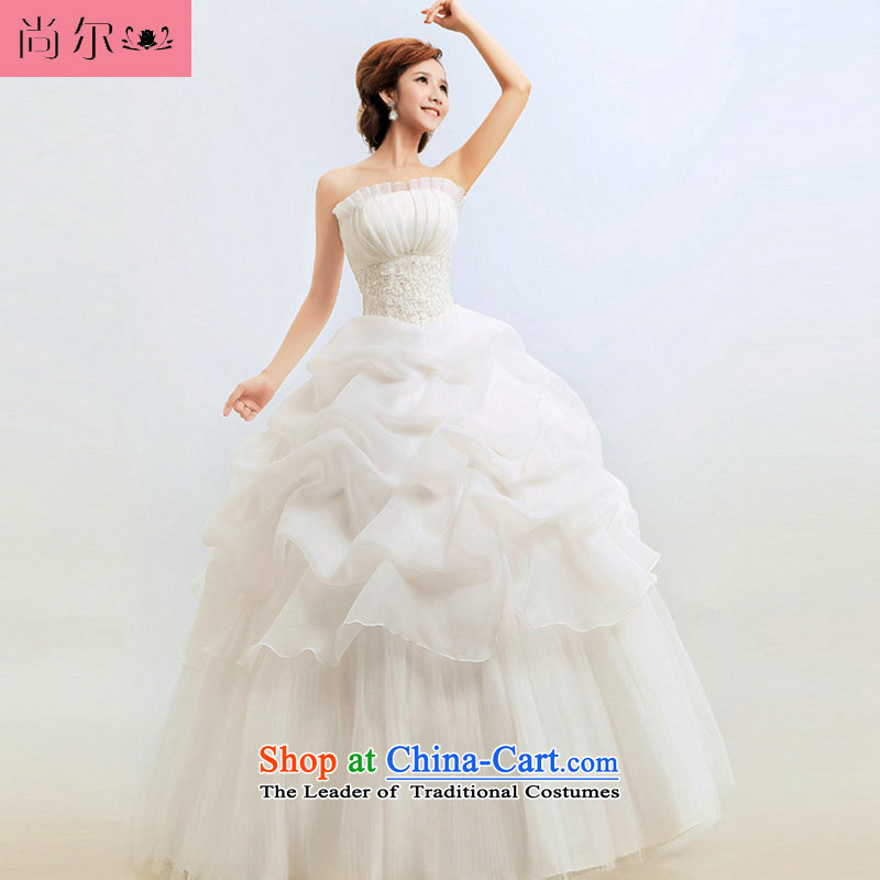 Yet, a new paragraph 2014 anointed chest Korean Princess graphics thin marriage wedding Korean wedding dress al00279 white?L