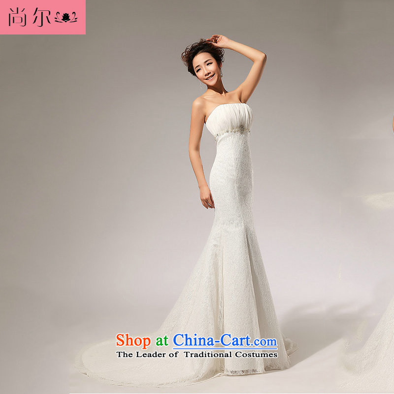 Naoji a 2014 new lace alignment of the waist A skirt anointed chest wedding dresses al00275 White�M long skirt