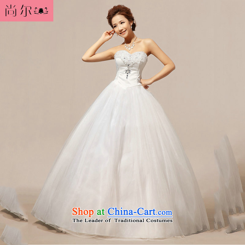 Naoji a 2014 new wedding anointed chest crystal Korean wedding dress al00274 white L