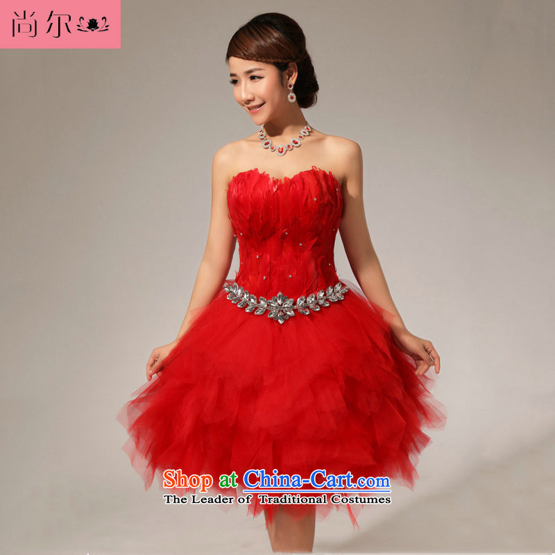 Naoji a 2014 new dresses bows to red dress small dress al00271 RED?M