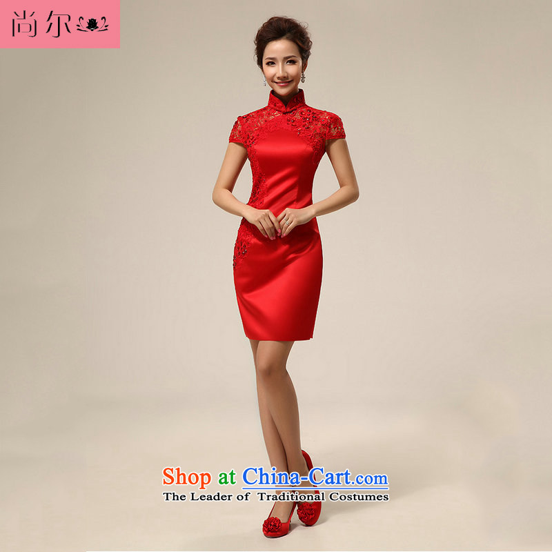 Yet, a new paragraph style qipao gown qipao red marriage short, bows Service Bridal?al00257?RED?M