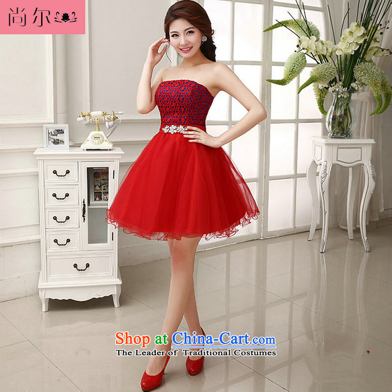 Naoji a 2014 new bride dress uniform marriage sister mission bows short, Red Dress al00253 RED�M